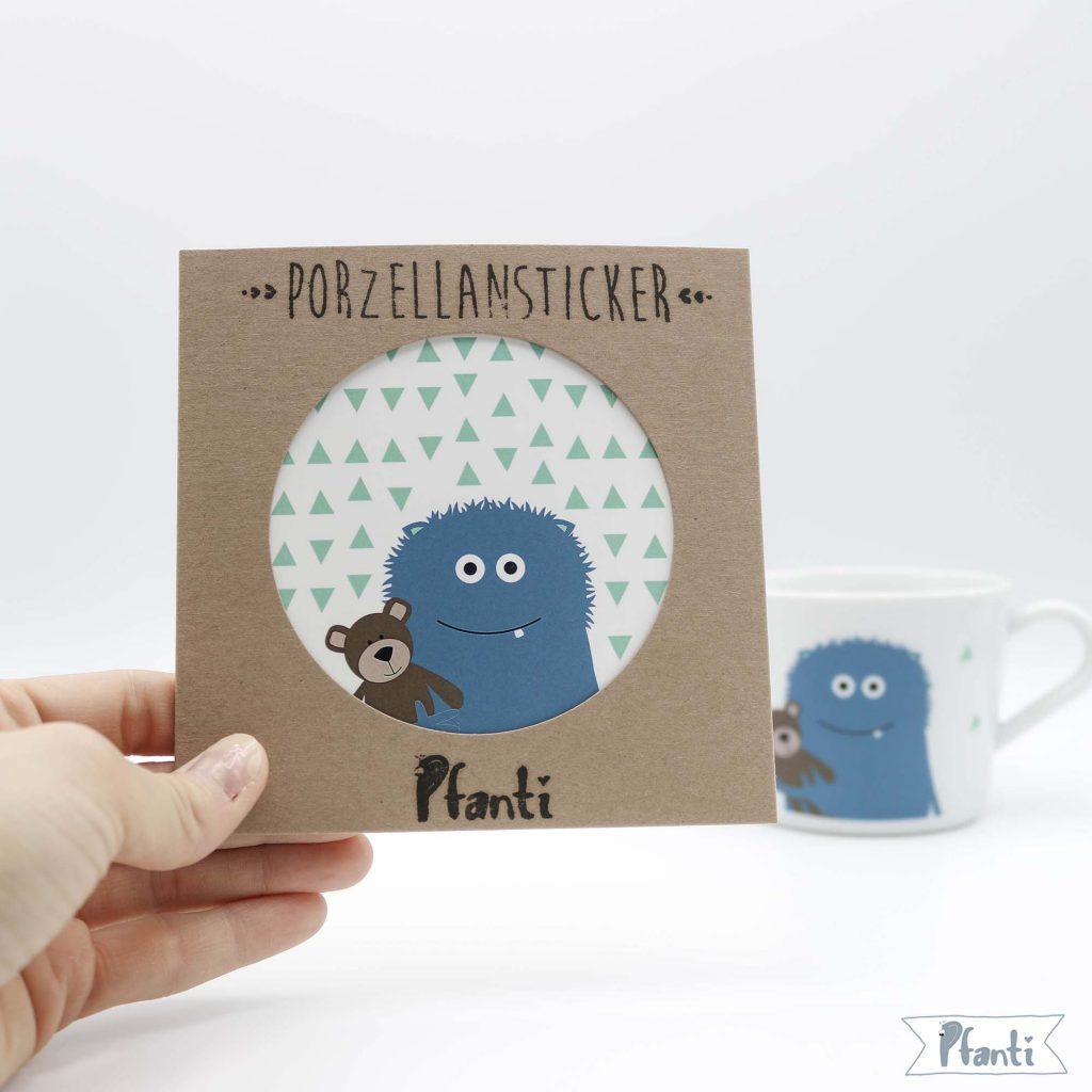 Porzellansticker Monster Verpackung