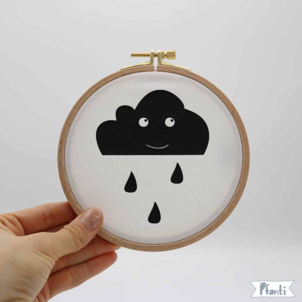Wandbild Stickrahmen Wolke