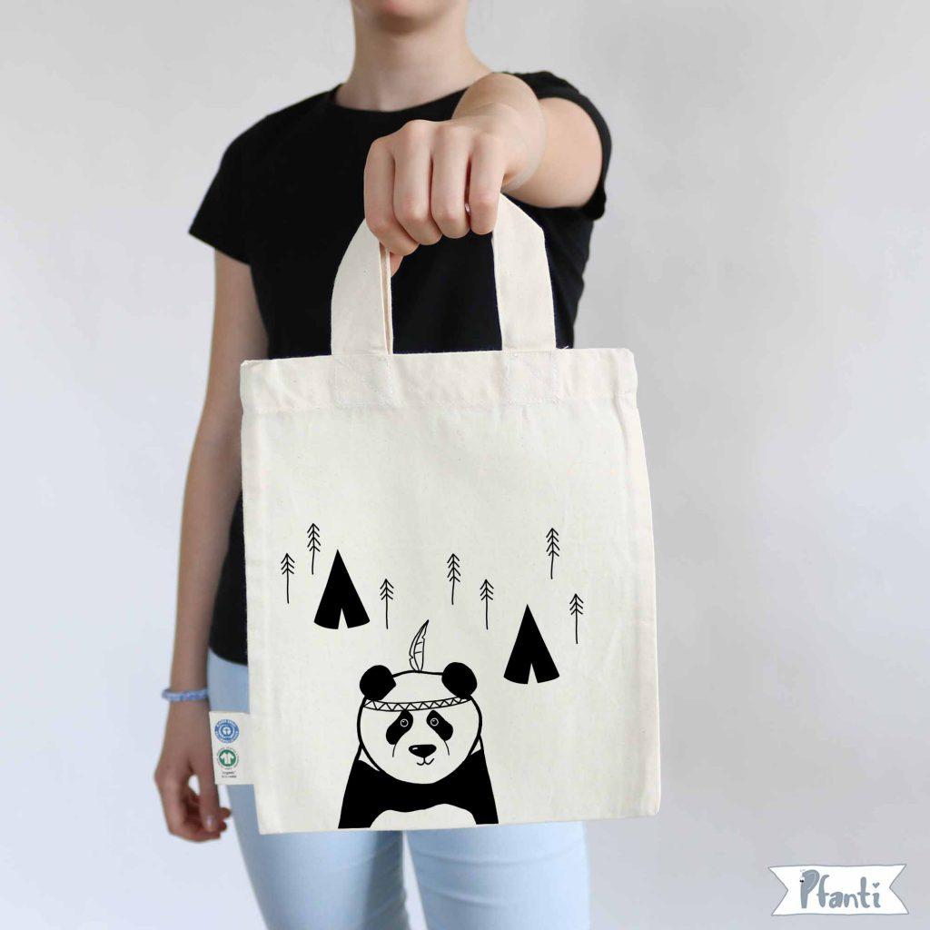 Bügelbild DIY Panda, Tipi und Wald