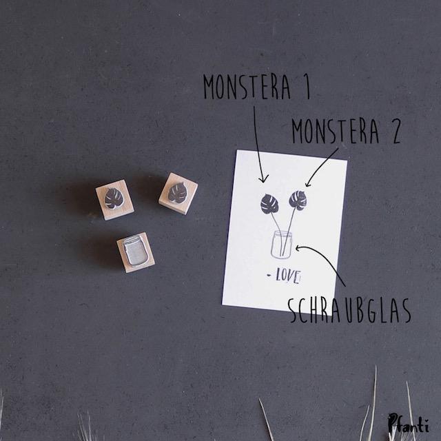 Stempel Monstera und Schraubglas