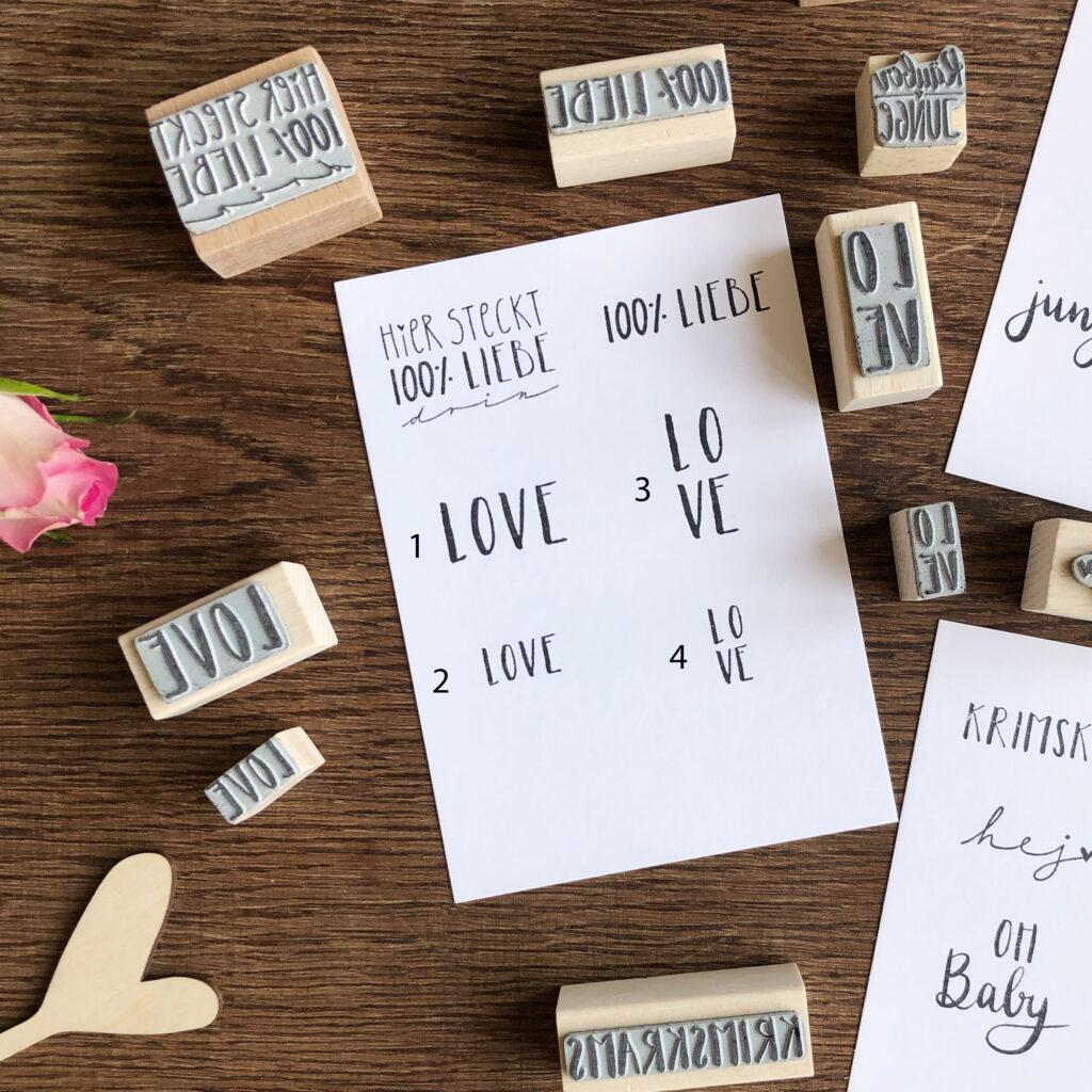 Stempel Text und Label, Liebe, Love