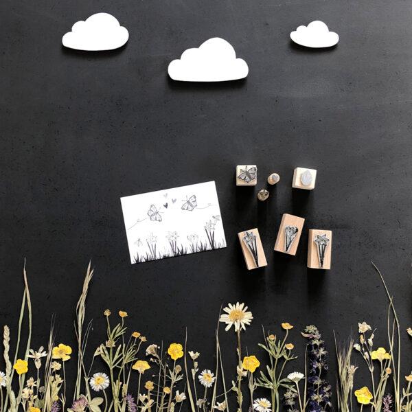 Stempel Frühling Osterglocke und Krokus