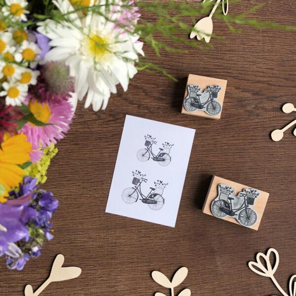 Stempel Blumen & Fahrrad